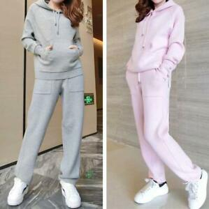 Women Winter Thicken Warm Knitted Hooded Sweater Harem Pants Tracksuit Sport New
