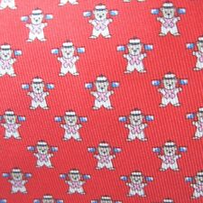 B-234956 New Salvatore Ferragamo Men's Red Bears With Flags Patterned Tie