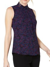 Anne Klein Women's Blouse Blue Red Size 14 Button-Up Printed Collar $69 #363