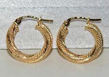 9ct Gold Glittery Ladies Hoop Creole Earrings