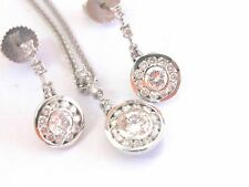Fine Round Cut Diamond Circular White Gold Earring & Necklace 1.00Ct