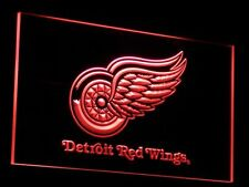"""Detroit Red Wings Led Sign 12"""" x 8"""" On/Off Switch mancave bar pub"""
