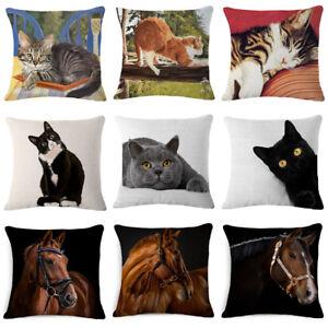 "18"" Cat ?? Horse Throw Pillow Case Linen Home Decor Sofa Car Waist Cushion Cover"