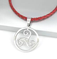 Silver Triskelion Triskele Spiral Celtic Pendant Braided Red Leather Necklace