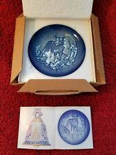 """B&G Bing Grondahl Denmark Ceramic Plate Mors Dag Mothers Day 1979 Blue 6"""" Foxes"""