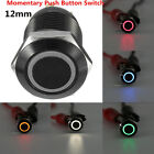 Black 4 Pin 12mm Led Light Metal Push Button Momentary Switch Waterproof 12v