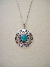 LOVELY BOHO NEPAL STYLE ANTIQUE SILVER TURQUOISE PENDANT NECKLACE