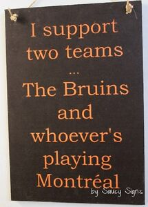 Boston v Montreal Hockey Sign - The Bruins versus The Habs Team Rivalry