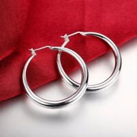 3.4cm Big Solid Round High quality 925 Sterling silver Filled Hoop Earings