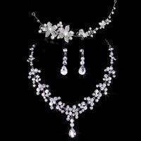 Wedding Fashion Design Flower Crystal Pearl Bride  Set Necklace Earrings 3 pcs