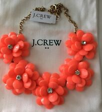 NWT J Crew Crystal Floral Burst Statement Necklace Neon Persimmon $69.50