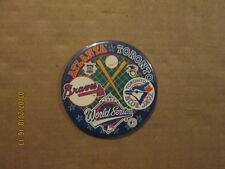 MLB Atlanta Toronto Vintage 1992 World Series Logo Baseball Pinback Button