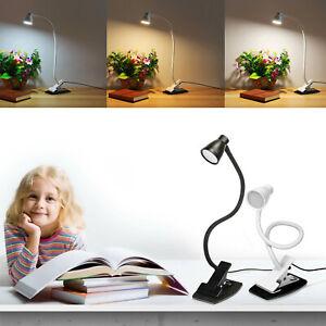 Flexible LED Desk Lamp Eye-Care Metal Arm Clip Home Office Dorm Room Table Light