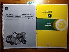 John Deere 41 -36000 & 48 -30309 Rotary Mower for 120 140 Operator Manual +Parts