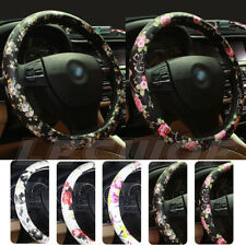 "Car Steering Wheel Cover PU Leather 15"" 37 - 38CM Flower for Women Girls Ladies"