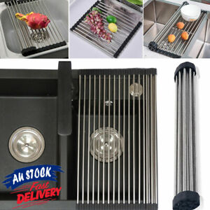 Stainless Steel Drainer Folding Drying Roll-Up Kitchen Over Sink Rack Dish Tray