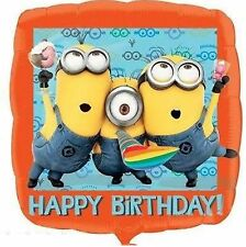 Despicable Me Minions Square 45cm Happy Birthday Foil Balloon-FREE POST AUSTONLY