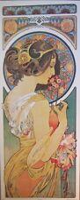 art print~POLYANTHUS~Alphonse Mucha tall lady nouveau deco flower vtg repr 12x29
