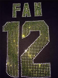 Womens Seattle Seahawks 12th Man FAN 12 Russell Wilson Bling Jersey Shirt FAST!