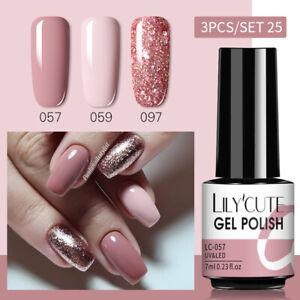 Set di 3 colori LILYCUTE Smalto per unghie in gel UV da 7 ml Soak Off Gel Polish