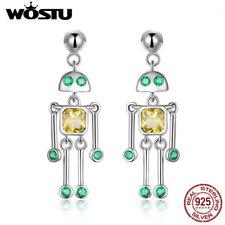 Wostu 925 Silver Long Robt Dangle Earrings With AAA CZ Ear Stud Fashion Gifts