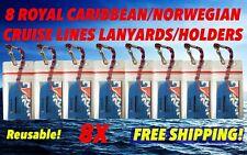 8 NORWEGIAN CRUISE LINES I.D.HOLDERS & NECK LANYARDS ZIP L0CK SEALED UNIVERSAL