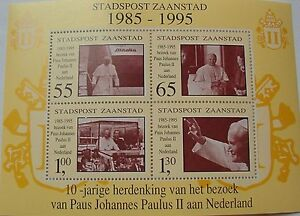 Netherlands Local mail Zaanstad - Block Pope Johannes Paulus II 1995 MNH