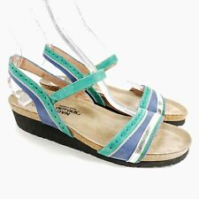 NAOT Womens Slingback Beverly Sandals Green Blue Silver Leather size 41 / 10 NEW