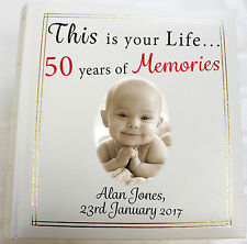 Personalised Photo Album,Memory/Guest Book, 50th Birthday,This Is Your Life Gift