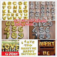 Silver/Gold Letter Number Foil Balloon Birthday Wedding Party Decoration Helium