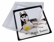 4x 'Happy Easter' Black Husky Picture Table Coasters Set in Gift Box, AD-H55DA1C