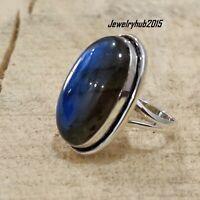Labradorite Stone Solid 925 Sterling Silver Band Ring Meditation Ring SR03