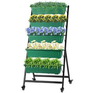 4.3-Ft Raised Garden Bed Vertical Garden Freestanding 5 Container Boxes  LIVING