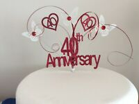 Ruby 40th wedding Anniversary cake topper 40 Years