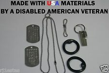 MILITARY DOG TAG I.D. TAGS -DULL- STAINLESS STEEL NEW DEBOSSED W/GI MACHINE