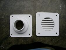 Square Battery Box Vent with Cone Backing Plate  WHITE for RV's Motorhome Camper