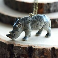 Hand Painted Porcelain Rhinocerous Rhino Necklace Antique Bronze Chain Ceramic