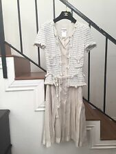 Vintage Pre-owned Chanel Tweed Boucle And Silk Dress Size 0
