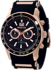 INVICTA 1238 AVIATOR FLIGHT ROSE GOLD CHRONOGRAPH BLACK FACE RUBBER BAND MENS