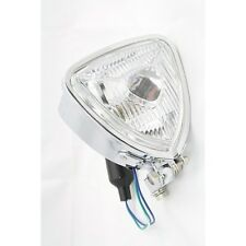 Single Chrome Custom Triangle Motorcycle Headlight Streetfighter Cafe Racer