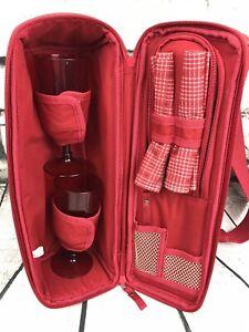 Eddie Bauer Red Wine Cooler Set w/ 2 Wine Glasses~ Napkins ~Insulated Cooler Bag