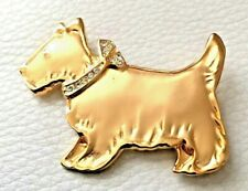 BROCHE CHIEN doré collier strass NEUVE Brooch pins 4,7cm mint Scotish dog