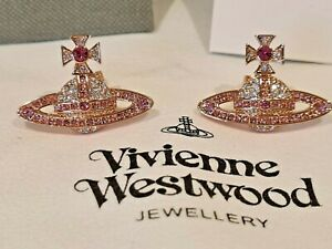Vivienne Westwood Kika crystal Bas Relief Earrings rose gold