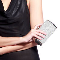 Shimmering Silver Diamante Evening Clutch Bag Purse Wedding Prom Party Ladies