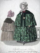 GRAVURE ANCIENNE MODE 19e - MODES DE PARIS - OCTOBRE 1834