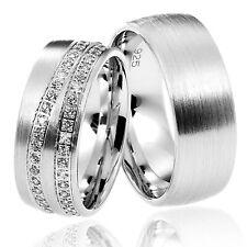 2 Trauringe 925 Silber GRAVUR Eheringe Verlobungsringe Partnerringe R732W vj