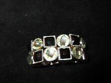 Stretchy Bracelet Black White Jeweled Crystal Shapes Geometric Shiny Thick Party