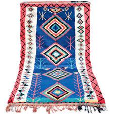 VINTAGE Moroccan Boujaad Boucherouite Beni Ourain rug Azilal rug 4.5 FT X 8.5 FT