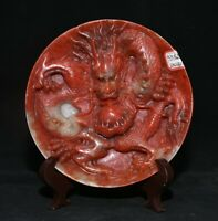 "7.2 ""Chine Bloodstone Main Sculpture Palais Dragon Jouer Perle Plateau assiette"