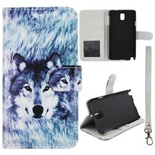 Siberian Wolf Gry Wallet S Leather Flip Samsung Galaxy note 3 III  Case Cover